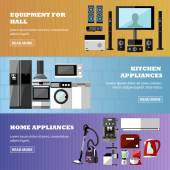 Consumer electronics store banners set Vector illustration Design elements in flat style Home related devices