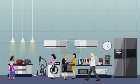 People shopping in a mall. Poster concept. Consumer electronics store Interior. Colorful vector illustration.