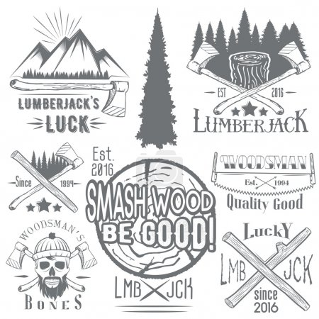 Illustration for Vector set of lumberjack and woodsman vector labels in vintage style. Wood work and manufacture emblems templates. Design elements, icons, badges and stamps isolated on white background. - Royalty Free Image
