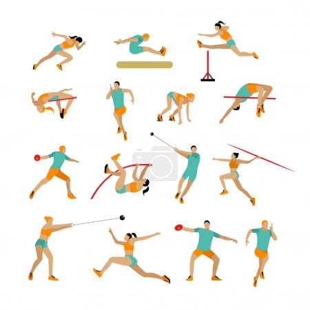 Vector set of people in sport poses. Track and field athletic contest concept. Sportsman flat icons isolated on white background