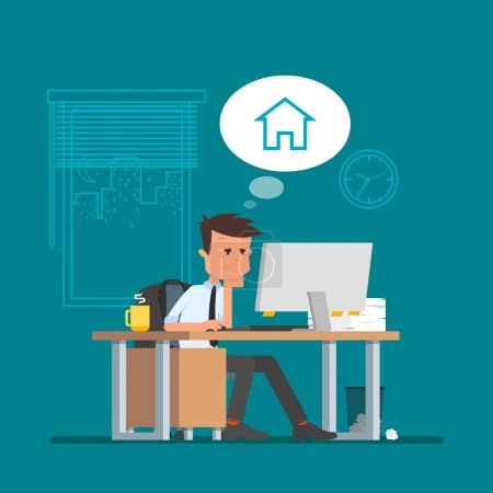Illustration for Business man working and dreaming about home. Vector illustration in flat cartoon style. Office worker in stress dreaming to go back home. - Royalty Free Image
