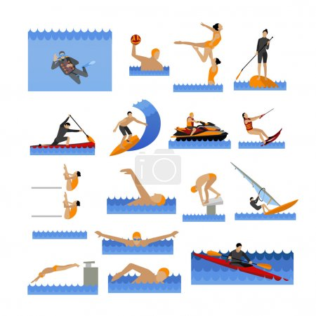 Illustration for Water sport icons set with people swimming, sailing, jumping to water. Vector illustration in flat style. Design elements and objects isolated on white background. - Royalty Free Image