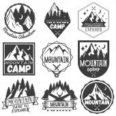 Vector set of mountain camp labels in vintage style Camp outdoor adventure concept illustration