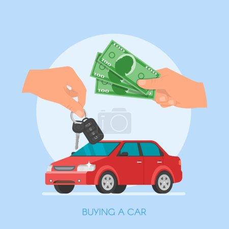 Illustration pour Vente de voitures illustration vectorielle. Client achetant la voiture du concept de concessionnaire. Vendeur de voiture donnant la clé au nouveau propriétaire. Main tenant la clé de voiture et l'argent . - image libre de droit