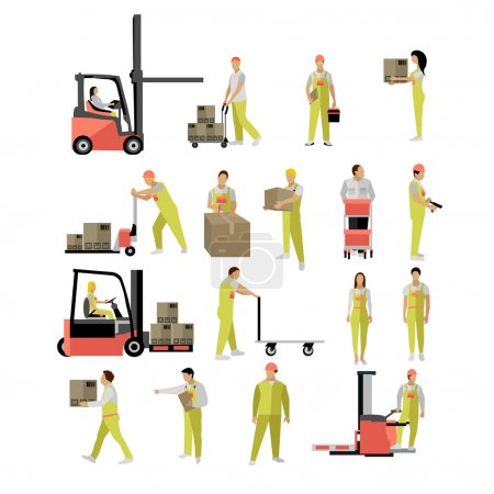 Delivery people silhouettes. Logistic and transportation icons isolated on white background. Vector illustration in flat style design.