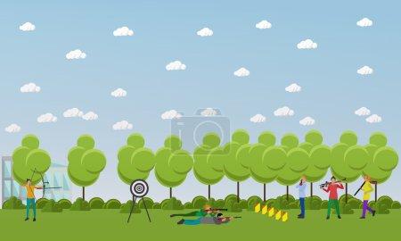 Illustration pour Bannière de tir sportif. Jeux de compétition illustration vectorielle. Les gens en position de tir . - image libre de droit