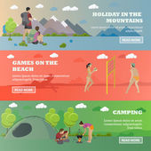 Vector set of summer recreation concept banners in flat style Beach volleyball forest camping mountain hiking