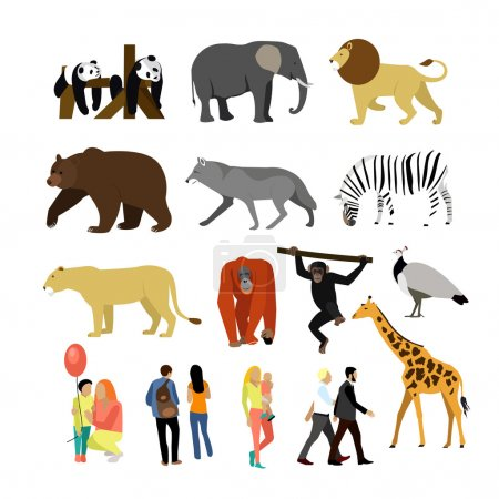 Illustration for Zoo animals isolated on white background. Vector illustration. Wild african animals. Many different animals, giraffe, elephant, bear, lion, panda and monkey. - Royalty Free Image