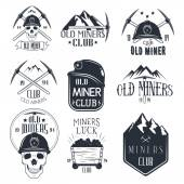 Vector set of mining labels in vintage style Gold miners club