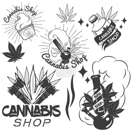 Illustration for Vector set of medical marijuana labels in vintage style. Cannabis emblems, badges and logos for shop design. Weed leafs, bong. - Royalty Free Image