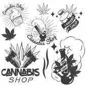 Vector set of medical marijuana labels in vintage style Cannabis emblems badges and logos for shop design Weed leafs bong