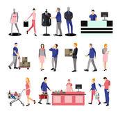 Lidé siluety v nákupní centrum. Ikony, izolované na bílém pozadí. Vektorové ilustrace plochý design