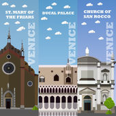 Venice tourist landmark banners Vector illustration with Italian famous buildings Travel concept