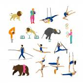 Vector set of circus artists acrobats and animals isolated on white background Icons design elements