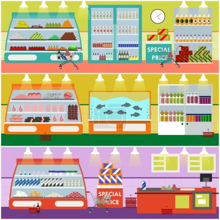 Supermarket interior vector illustration in flat style. Product items in food store. Groceries and foodstuff on shelves