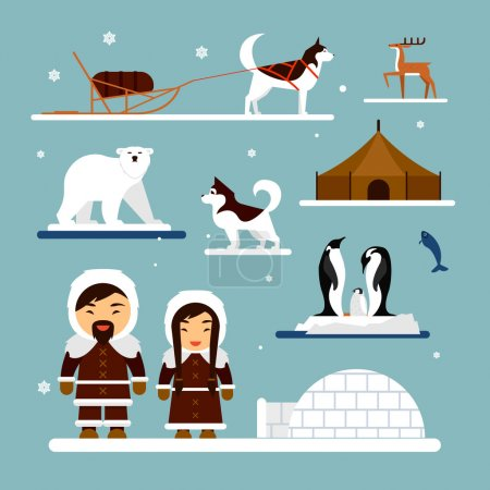 Vector set of eskimo characters with igloo house, dog, white bear and penguins. People in traditional eskimos costume, arctic animals