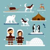 Vector set of eskimo characters with igloo house dog white bear and penguins People in traditional eskimos costume arctic animals
