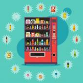 Vending machine with product items Vector illustration in vector style Food and drinks design elements and icons
