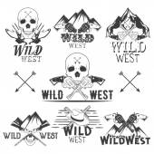 Vector set of wild west badges Isolated emblems labels logos with skulls revolvers mountains and cowboy boots in vintage style