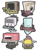 Vector set of colorful home appliance repair emblems Isolated logos badges banners labels in vintage style