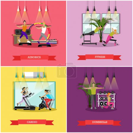 Vector set of workouts in the gym, flat design