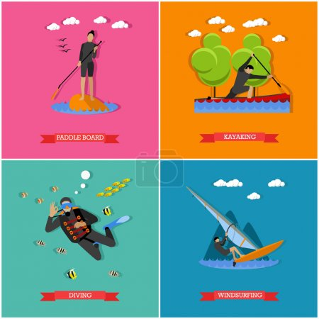 Illustration for Vector set of water sports. Scuba diving, stand up paddle, kayaking and windsurfing. Summer activities, active lifestyle. Flat design - Royalty Free Image