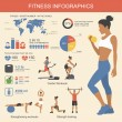 Fitness infographics elements. Vector illustration of healthy lifestyle in flat style