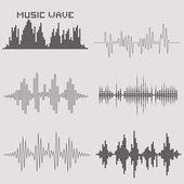 Sound waves set Music icons Audio equalizer technology Vector illustration