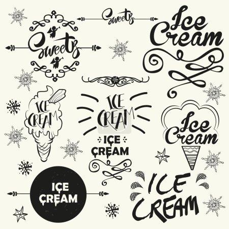 Illustration pour Ensemble d'insignes et d'étiquettes de logo de magasin de crème glacée vintage. Illustration vectorielle typographique - image libre de droit