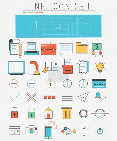 Illustration for Vector line icons set. Web design elements, pictogram, objects, office management, marketing and business items in linear style. Illustration Isolated on white background - Royalty Free Image