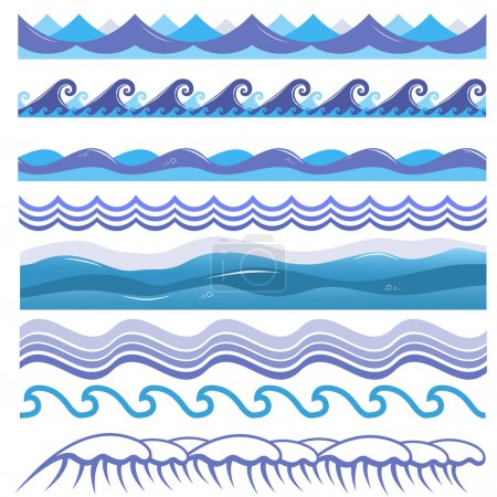 Illustration for Vector illustration of ocean and sea waves, surfs and splashes. Seamless isolated design elements on white background. Blue marine patterns - Royalty Free Image