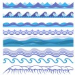 Vector illustration of ocean and sea waves, surfs and splashes. Seamless isolated design elements on white background. Blue marine patterns