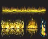 Vector illustration with set of burning fire flames on black background