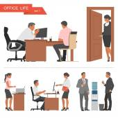 Flat design of business people and office workers Vector illustration isolated on white background