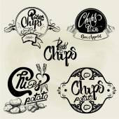 Vector set of potato chips labels design elements Isolated logo illustration in vintage style