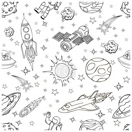 Illustration for Outer Space doodles, symbols and design elements, spaceships, planets, stars, rocket, astronauts, satellite, comets. Cartoon space icons for kids book cover. Hand drawn vector illustration - Royalty Free Image