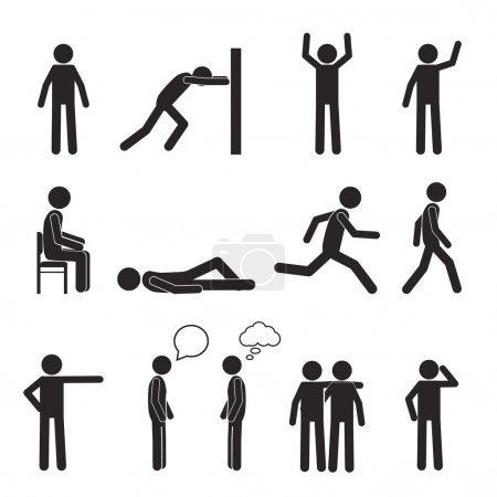 Illustration for Man posture pictogram and icons set. People sitting, standing, running, lying, talking. Human body action poses and figures. Vector illustration isolated on white background - Royalty Free Image
