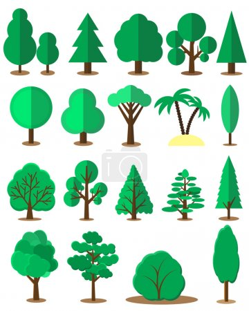 Flat tree set isolated on white background. Vector collection of design elements for games, cartoons, illustrations
