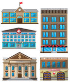 Vector set of flat buildings decorative icons Design elements isolated on white background School hotel hospital fire station bank Template for game web and mobile applications