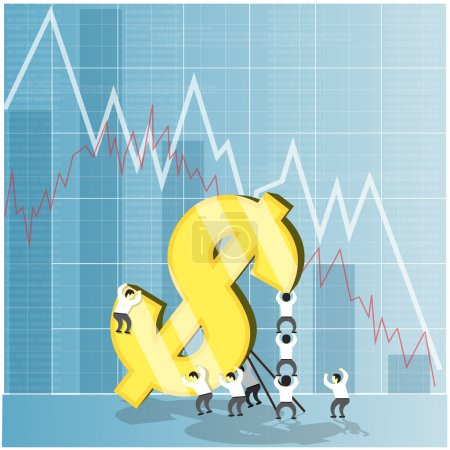 Illustration for Concept for economy stock and currency market crash down. Financial background. Dollar falling and economic crisis. Vector illustration - Royalty Free Image