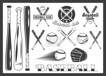 Vector set of baseball club emblem, label, badges, logo and design elements. Sport icons in vintage style. Baseball bat, ball, glove.