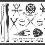 Vector set of baseball club emblem, label, badges, logo and design elements. Sport icons in vintage style. Baseball bat, ball, glove. Crossed bats