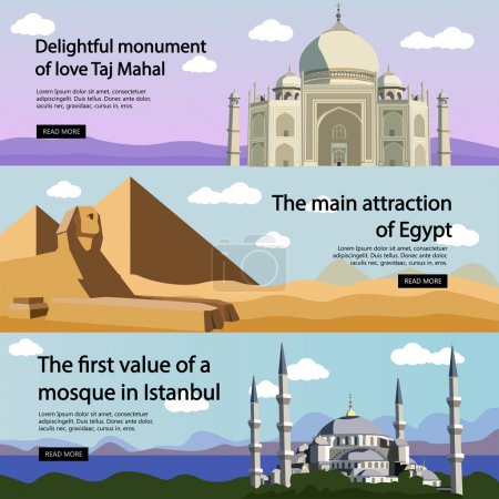 Travel banner vector set. International culture, tourist attractions and landmarks. Turkey Mosque, Egypt pyramids, India Taj Mahal.