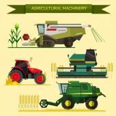 Vektorový soubor zemědělských vozidel a zemědělských strojů. Traktory, kombajny, kombinuje. Plochý design