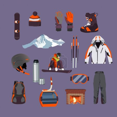 Vector set of Ski and Snowboard equipment icons. Winter sports  isolated elements in flat design