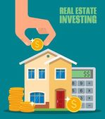 Property Investment concept House and real estate money investment Building placed next to coin stack