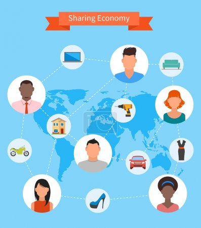 Sharing economy and smart consumption concept. Vector in flat style. People save money, share resources.