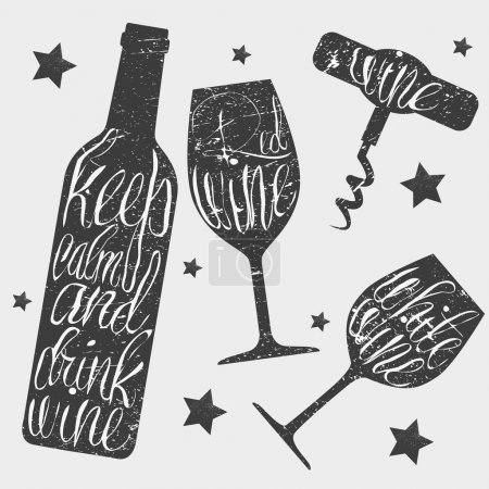 Wine bottle, glass and corkscrew vector illustration in vintage style. Hand drawn chalkboard. Chalk lettering.