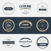 Premium quality labels set Brands design elements emblems logo badges and stickers Vector illustration