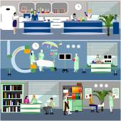 Vector banners with doctors and hospital interiors Patients passing medical check up surgery operation room Flat cartoon illustration